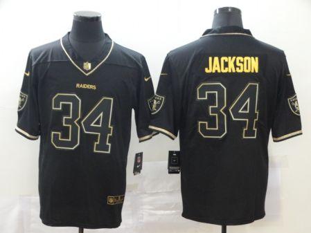 Men's Raiders #34 Bo Jackson Black Golden Edition Vapor Limited Football Jersey
