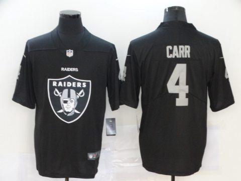 Men's Raiders #4 Derek Carr Black Football Team Big Logo Fashion Vapor Limited Jersey