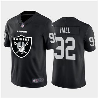 Men's Raiders #92 P.J. Hall Black Football Team Big Logo Fashion Vapor Limited Jersey