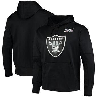 Men's Raiders Black 100th Season Primary Logo Circuit Performance Football Pullover Hoodie