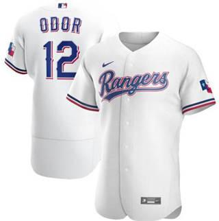 Men's Rangers #12 Rougned Odor White 2020 Baseball Flexbase Jersey