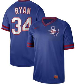Men's Rangers #34 Nolan Ryan Royal  Cooperstown Collection Stitched Baseball Jersey