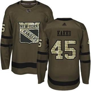 Men's Rangers #45 Kaapo Kakko Green Salute to Service Stitched Hockey Jersey
