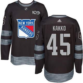 Men's Rangers #45 Kappo Kakko Black 1917-2017 100th Anniversary Stitched Hockey Jersey