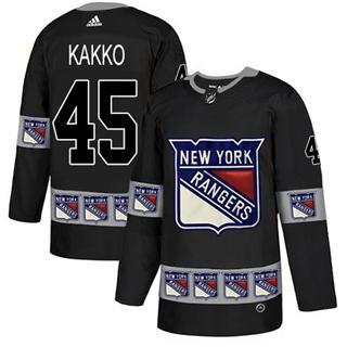 Men's Rangers #45 Kappo Kakko Black Authentic Team Logo Fashion Stitched Hockey Jersey