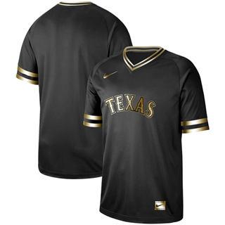 Men's Rangers Blank Black Gold  Stitched Baseball Jersey