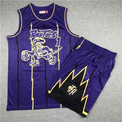 Men's Raptors #1 Tracy McGrady Purple 1998-99 Hardwood Classics Jerseys Siut (With Short)