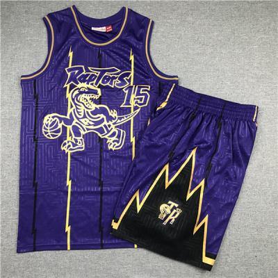Men's Raptors #15 Vince Carter Purple 1998-99 Hardwood Classics Jerseys Siut (With Short)