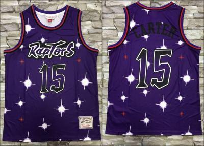 Men's Raptors #15 Vince Carter Purple Star Fashion Hardwood Classics Basketball Jersey