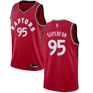 Men's Raptors #95 Superfan Red Basketball Swingman Icon Edition Jersey