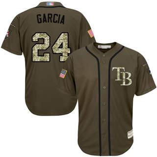 Men's Rays #24 Avisail Garcia Green Salute to Service Stitched Baseball Jersey