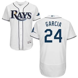 Men's Rays #24 Avisail Garcia White Flexbase  Collection Stitched Baseball Jersey