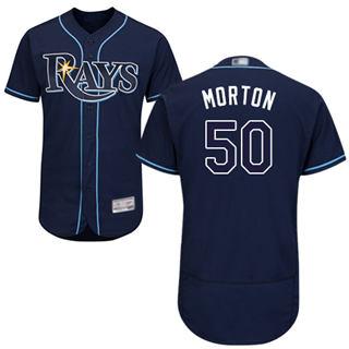 Men's Rays #50 Charlie Morton Dark Blue Flexbase  Collection Stitched Baseball Jersey