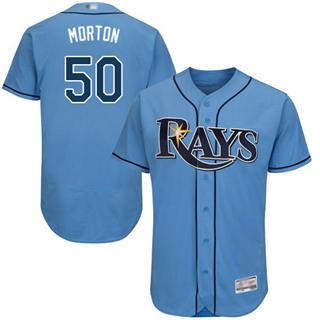 Men's Rays #50 Charlie Morton Light Blue Flexbase  Collection Stitched Baseball Jersey