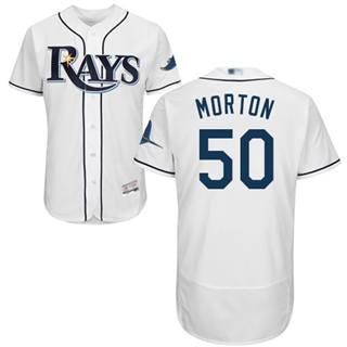 Men's Rays #50 Charlie Morton White Flexbase  Collection Stitched Baseball Jersey