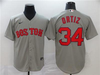 Men's Red Sox #34 David Ortiz Gray 2020 Baseball Cool base Jersey
