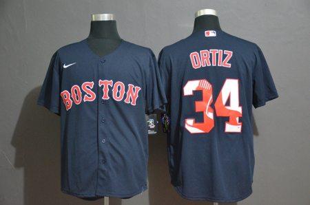 Men's Red Sox #34 David Ortiz Navy Blue 2020 Baseball Color Printing Cool Base Jersey