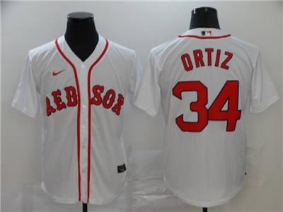 Men's Red Sox #34 David Ortiz White 2020 Baseball Cool base Jersey