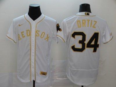 Men's Red Sox #34 David Ortiz White Gold 2020 Baseball Flexbase Jersey