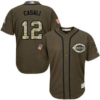 Men's Reds #12 Curt Casali Green Salute to Service Stitched Baseball Jersey