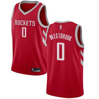 Men's Rockets #0 Russell Westbrook Red Basketball Swingman Icon Edition Jersey