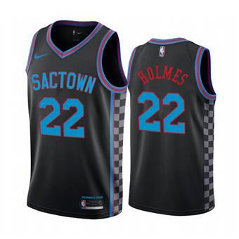 Men's Sacramento Kings Purple #22 Richaun Holmes Black City Edition Sactown 2020-21 Stitched Basketball Jersey
