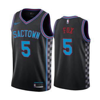 Men's Sacramento Kings Purple #5 De'Aaron Fox Black City Edition Sactown 2020-21 Stitched Basketball Jersey