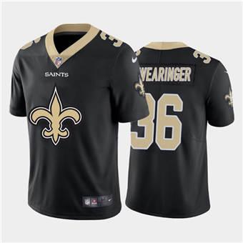 Men's Saints #36 D.J. Swearinger Black Football Team Big Logo Fashion Vapor Limited Jersey