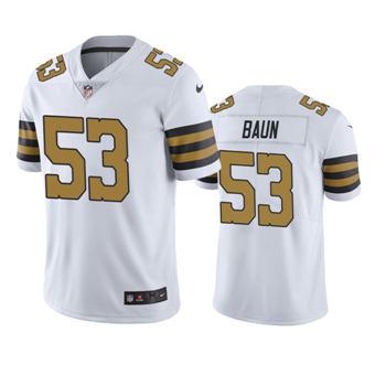 Men's Saints #53 Zack Baun White Color Rush Stitched Football Limited Jersey