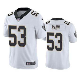 Men's Saints #53 Zack Baun White Stitched Football Vapor Untouchable Limited Jersey