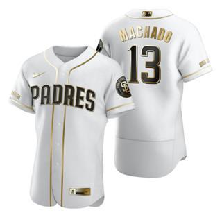 Men's San Diego Padres #13 Manny Machado White 2020 Authentic Golden Edition Baseball Jersey