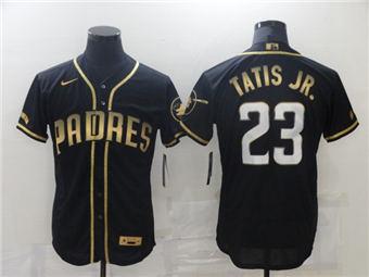 Men's San Diego Padres #23 Fernando Tatis Jr. 2021 Black Golden Edition Flex Base Stitched Baseball Jersey