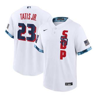 Men's San Diego Padres #23 Fernando Tatis Jr. 2021 White All-Star Cool Base Stitched Baseball Jersey