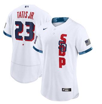 Men's San Diego Padres #23 Fernando Tatis Jr. 2021 White All-Star Flex Base Stitched Baseball Jersey