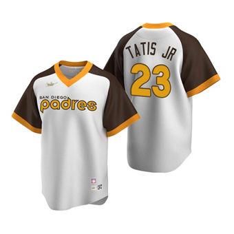 Men's San Diego Padres #23 Fernando Tatis Jr. White Cooperstown Stitched Baseball Jersey