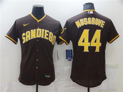Men's San Diego Padres #44 Joe Musgrove 2020 Brown Flex Base Stitched Baseball Jersey