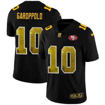 Men's San Francisco 49ers #10 Jimmy Garoppolo Black Golden Sequin Vapor Limited Football Jersey