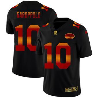 Men's San Francisco 49ers #10 Jimmy Garoppolo Black Red Orange Stripe Vapor Limited Football Jersey