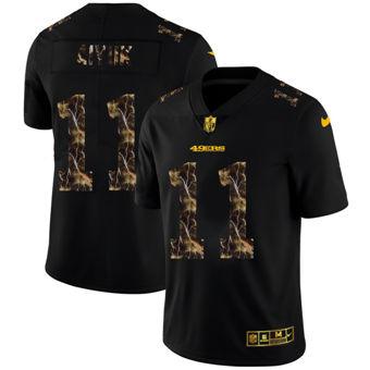 Men's San Francisco 49ers #11 Brandon Aiyuk Black Flocked Lightning Vapor Limited Football Jersey