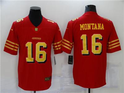 Men's San Francisco 49ers #16 Joe Montana Red Gold Vapor Untouchable Limited Stitched Jersey