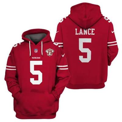 Men's San Francisco 49ers #5 Trey Lance 2021 75th Anniversary Alternate Pullover Football Hoodie