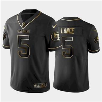 Men's San Francisco 49ers #5 Trey Lance Black golden edition Stitched Football Jersey