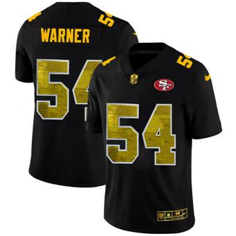 Men's San Francisco 49ers #54 Fred Warner Black Golden Sequin Vapor Limited Football Jersey