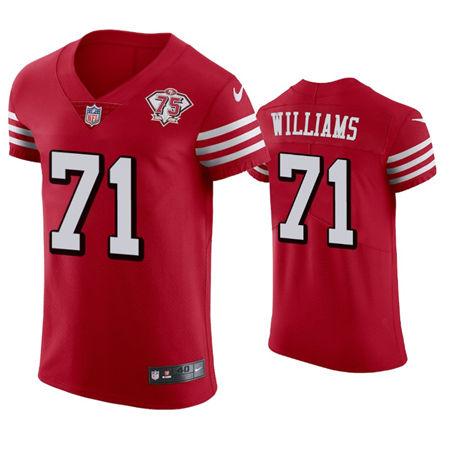 Men's San Francisco 49ers #71 Trent Williams 75th Anniversary Vapor Untouchable Elite Jersey Scarlet