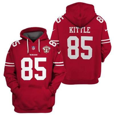 Men's San Francisco 49ers #85 George Kittle 2021 75th Anniversary Alternate Pullover Football Hoodie