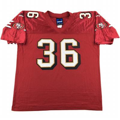 Men's San Francisco 49ers #Merton Hanks Red Throwback Stitched Jersey