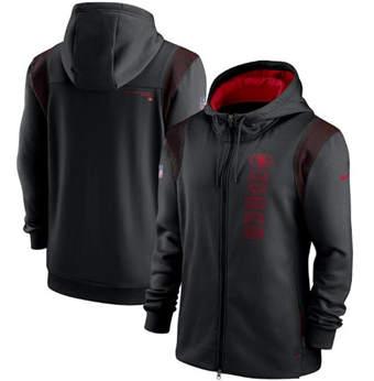 Men's San Francisco 49ers 2021 Black Sideline Team Performance Full-Zip Hoodie