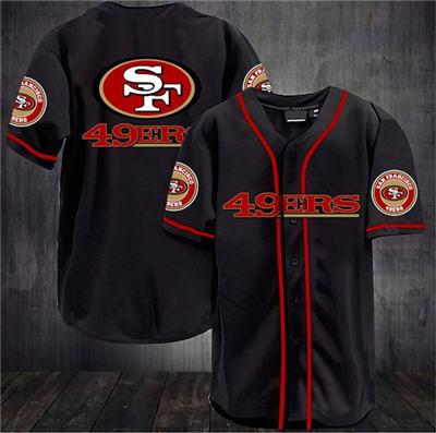 Men's San Francisco 49ers Black Baseball Stitched Jersey Shirt