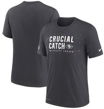 Men's San Francisco 49ers Charcoal 2021 Crucial Catch Performance T-Shirt