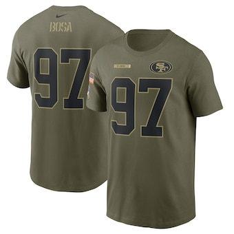 Men's San Francisco 49ers Nick Bosa Football Camo 2021 Salute To Service Name & Number T-Shirt